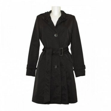 Belted Trench Coat With Collar Detail