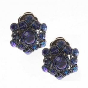 Bended Lights Crystal Woven Earrings