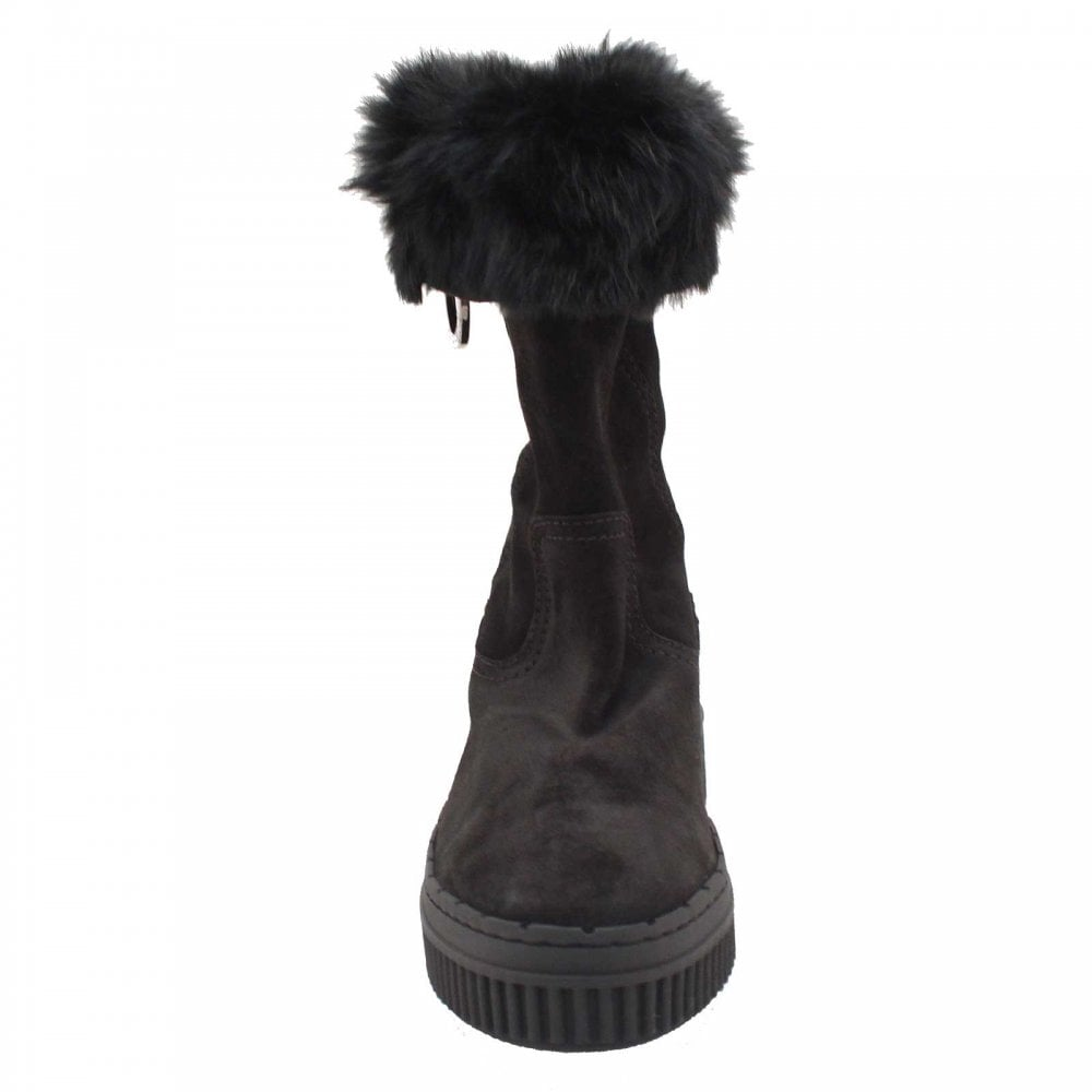 3/4 High Fur Lined Black Winter Boots