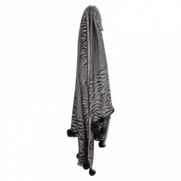 Black Cotton Woven Scarf With Pom Poms