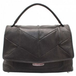 Black Leather Patchwork Design Handbag
