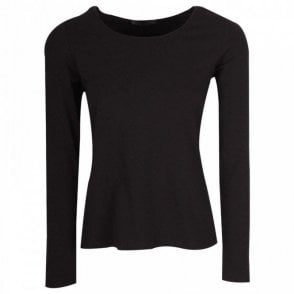 Black Long Sleeve Crew Neck Top