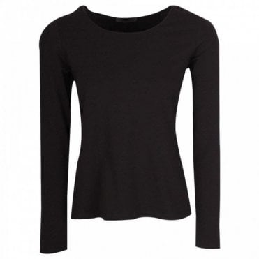 Crea Concept Black Long Sleeve Crew Neck Top