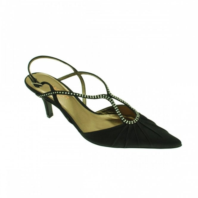 Magrit Black Satin Sling Back Low Heel Shoe