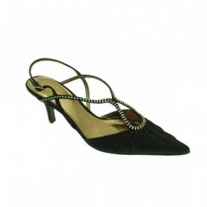 Black Satin Sling Back Low Heel Shoe