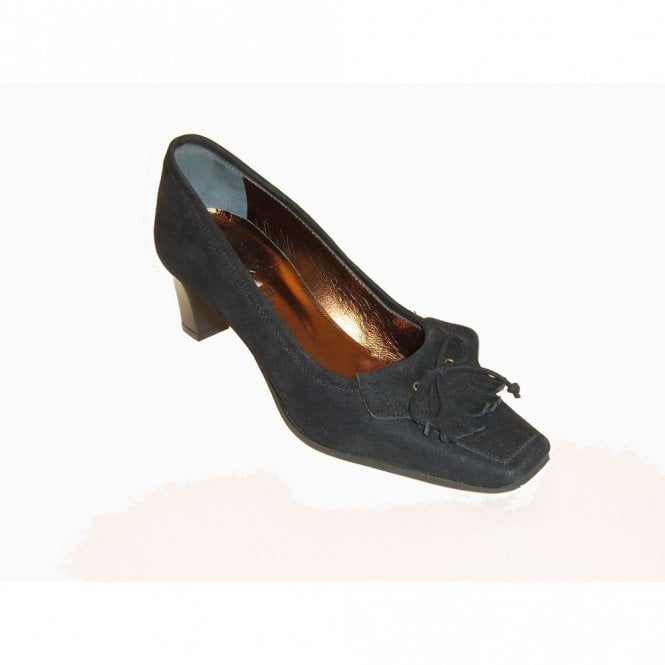 Gardenia Black Suede Court With Frill