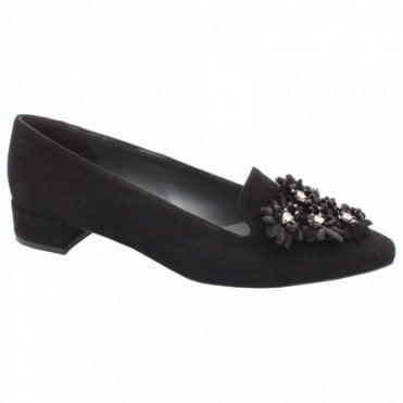 Black Suede Leather Flat Floral Moccasin