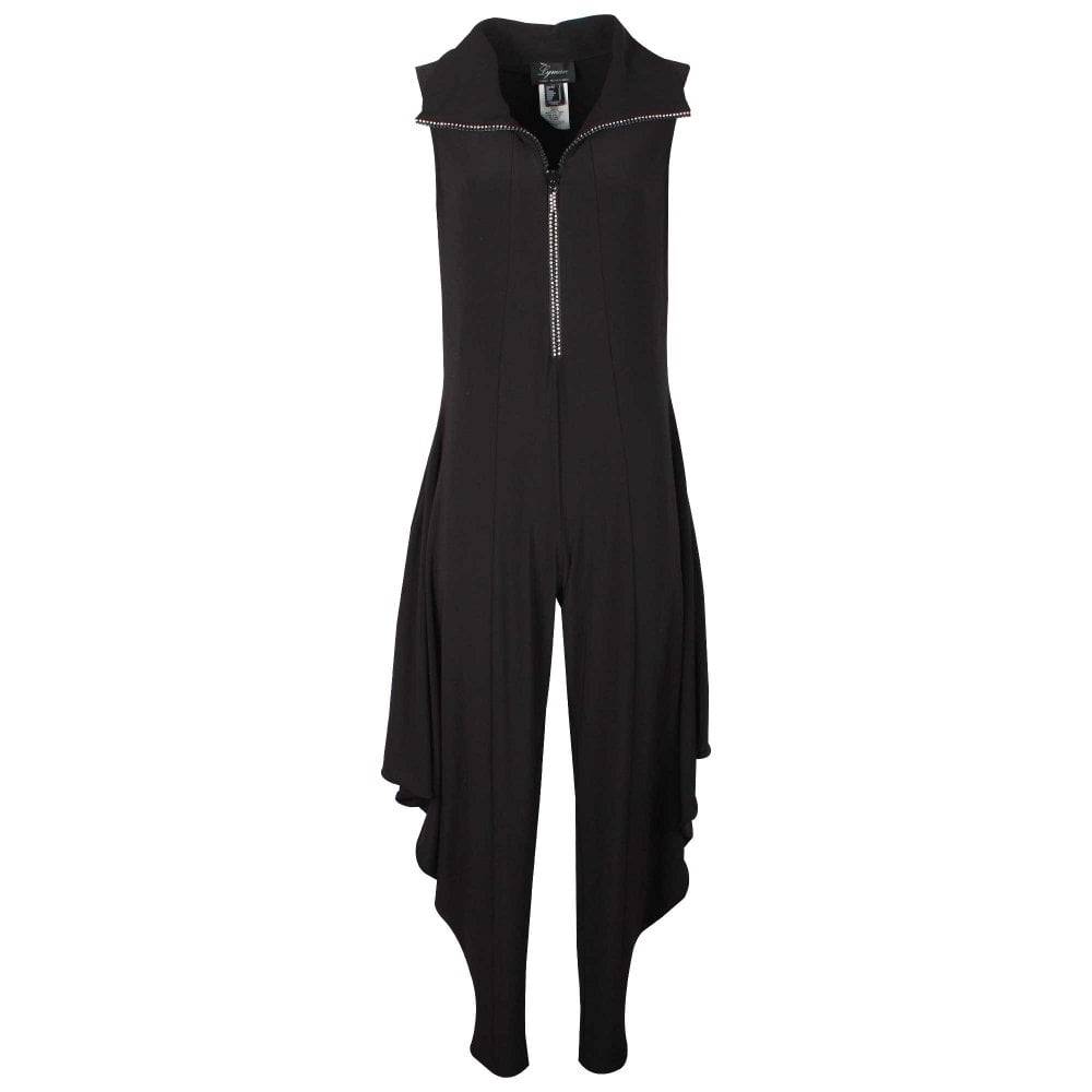 83cbba95fb Black Zip Up Harem Trousers Jumpsuit By Frank Lyman At Walk In Style