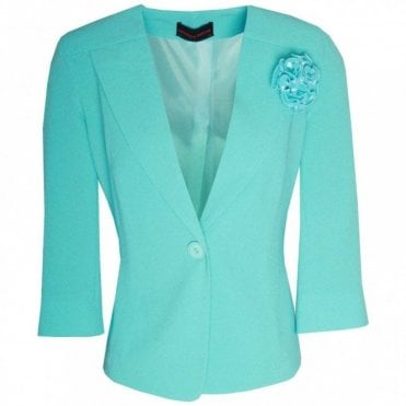 Blazer Jacket With A Fabric Broche