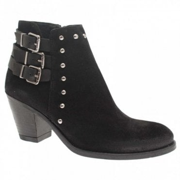 Block Heel Ankle Boot 3 Buckle Detail