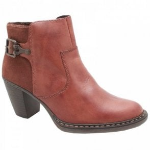 Rieker Block Heel Brown Leather Ankle Boot