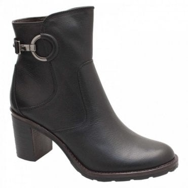 Block Heel Buckle Black Ankle Boot