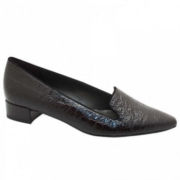 Peter Kaiser Block Heel Patent Slip On Moccasin