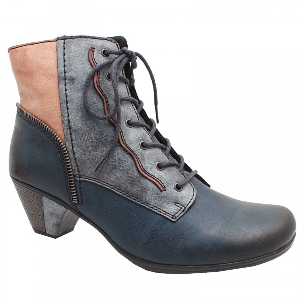 cc461c7660 Block Heel Short Lace Up Ankle Boot By Rieker At Walk In Style