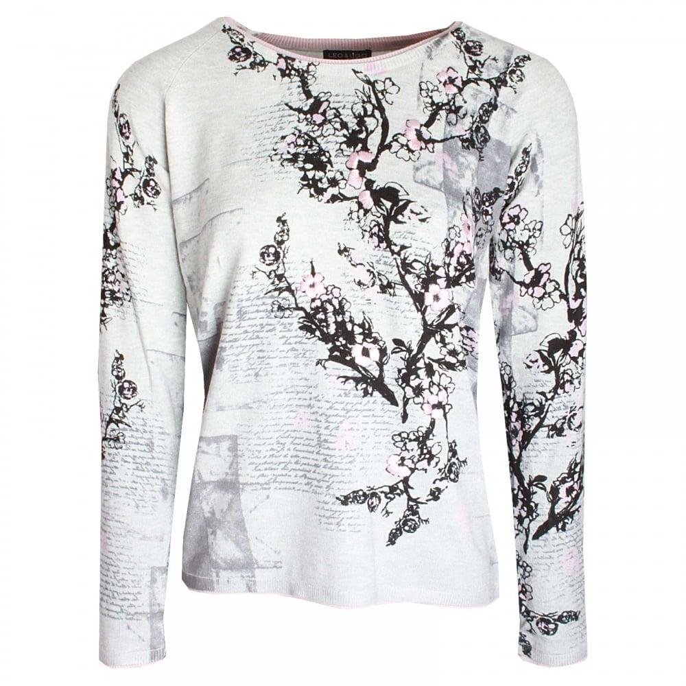 a7ac2a1e4a Blossom Print Long Sleeve Knitted Jumper