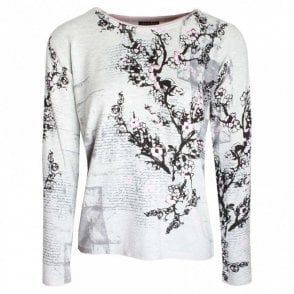 Blossom Print Long Sleeve Knitted Jumper