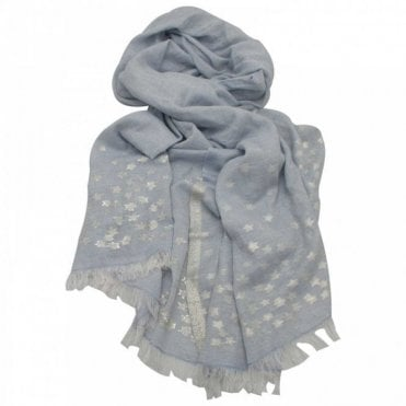 Ombre Blue Cheetah Print Long Woven Scarf