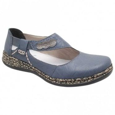 Rieker Blue Elasticated Strap Over Flat Shoes