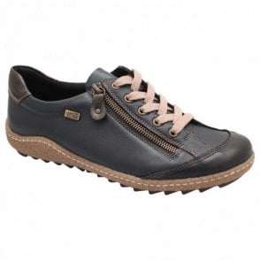 Remonte Blue Leather Lace Up Waterproof Trainer