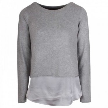 Boat Neck Fine Knit Grey Layered Jumper