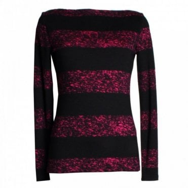Boatneck Stripe Effect Long Sleeve Top