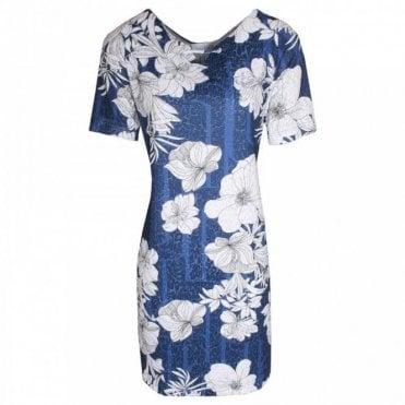 Bold Floral Print Short Sleeve Dress