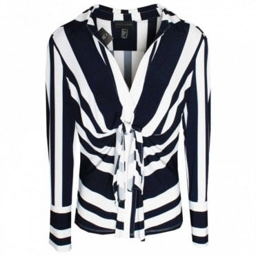 Frank Lyman Bold Stripe Knotted Long Sleeve Top