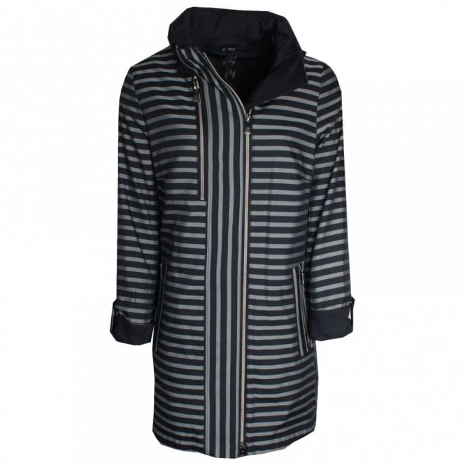 Creenstone Bold Stripe Raincoat With Off Centre Zip