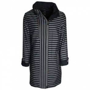 Bold Stripe Raincoat With Off Centre Zip