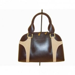 Magrit Brown / Beige Suede Square Hand