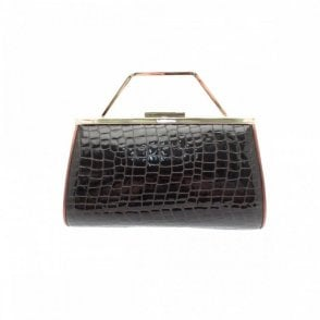 Brown Croc Clutch 3-in-1