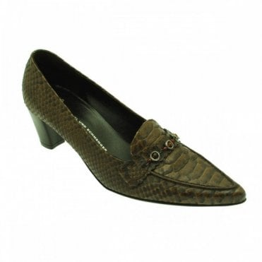 Brown Croc Low Heel