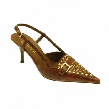 Lorbac Brown Croc With Gold Studs
