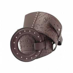 Brown Laser Cut Lambskin Ring Belt