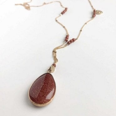 Bcharmd Brown Sandstone Pendant Long Necklace