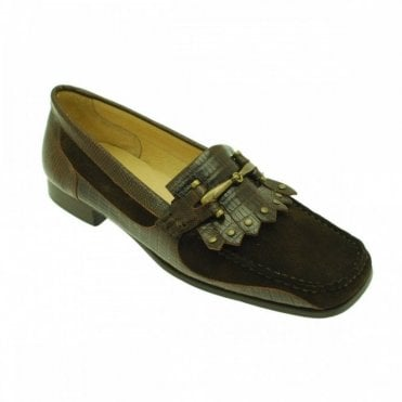 Brown Suede Frill Trim Moccasin