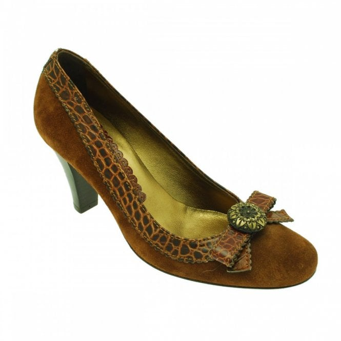 Guglielmo Rotta Brown Suede With Croc Bow Detail