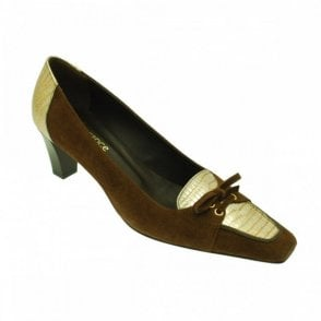Brown Suede With Gold Met Front