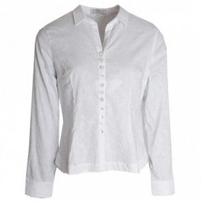Button Detail Stretch Cotton Shirt