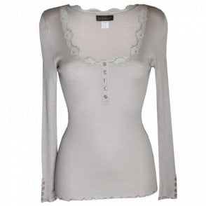 Rosemunde Button Long Sleeve Top With Lace Edge