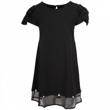 Capped Sleeve Dress With Pearl Detail