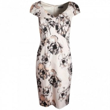 Capped Sleeve Floral Print Dress