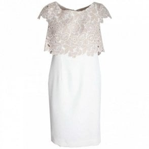 Capped Sleeve Lace Bodice Shift Dress