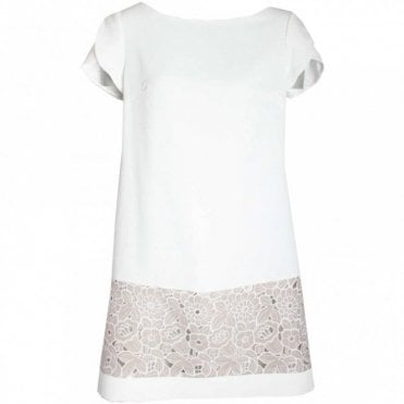 Capped Sleeve Lace Detail Shift Dress