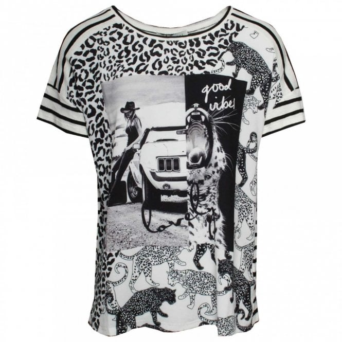 Oui Capped Sleeve Multi Print T-shirt