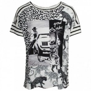 Capped Sleeve Multi Print T-shirt