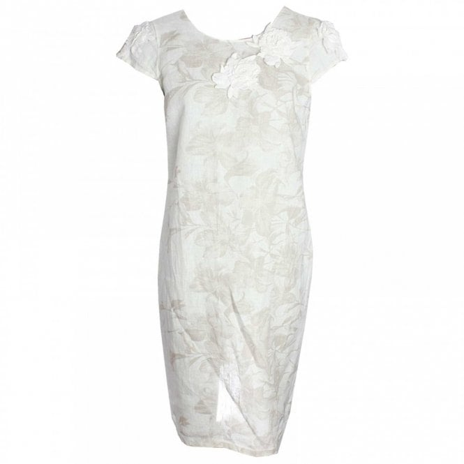 Capped Sleeve Printed Linen Shift Dress By Latte At Walk In Style
