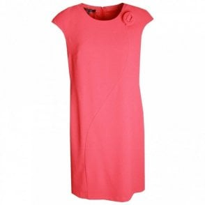 Capped Sleeve Round Neck Shift Dress