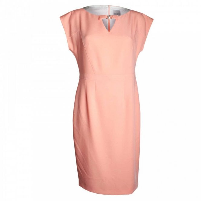 Paola Collection Capped Sleeve Shift Dress Pearl Detail