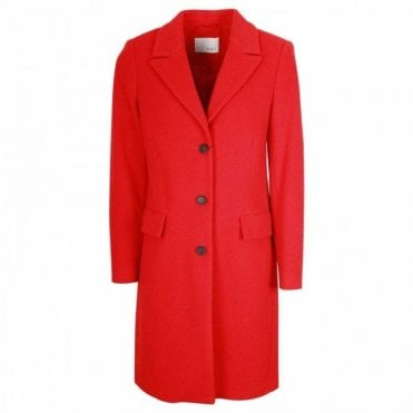 Oui Cashmere & Wool Blend Long Red Coat